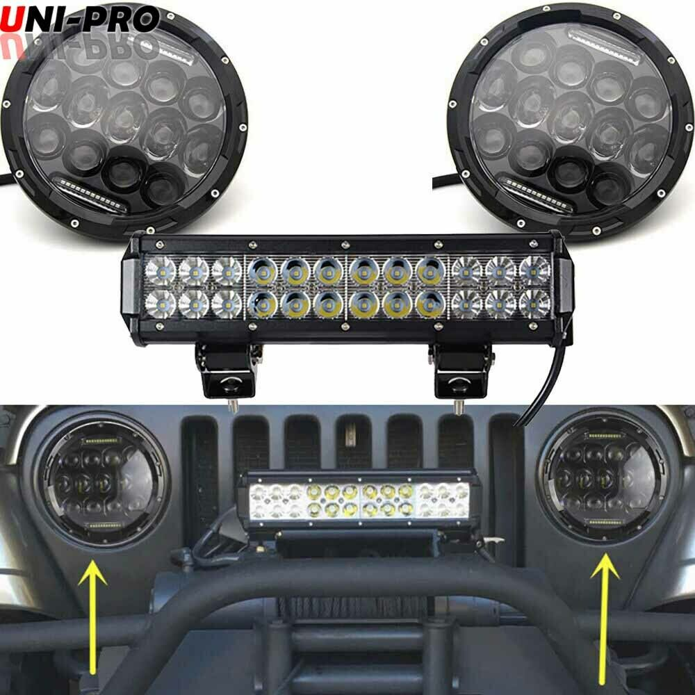 2x 7inch cree led headlight 12inch light bar bumper for. Black Bedroom Furniture Sets. Home Design Ideas