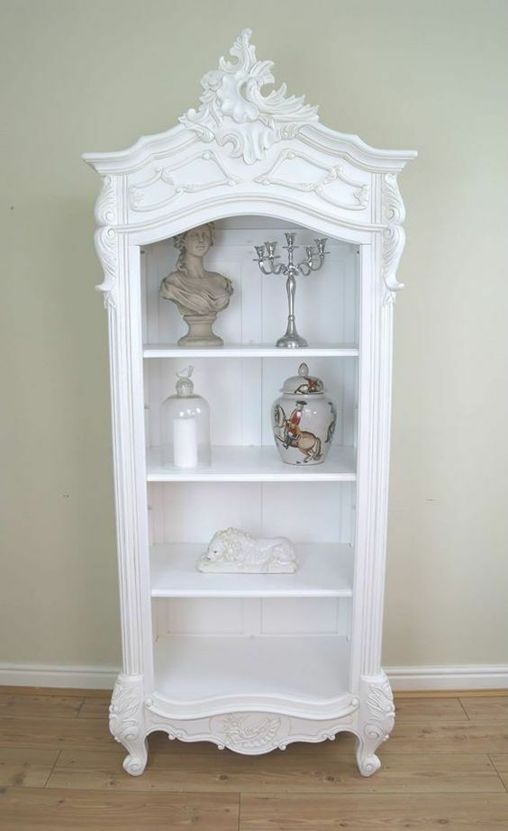 French Style White Hand Carved Rococo Ornate Open Bookcase