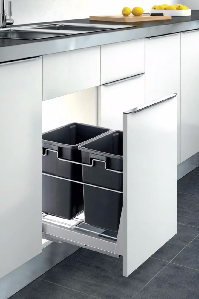 Double Container Kitchen Cabinet Pull Out Trash Can Waste Bin Door Mounted Ebay