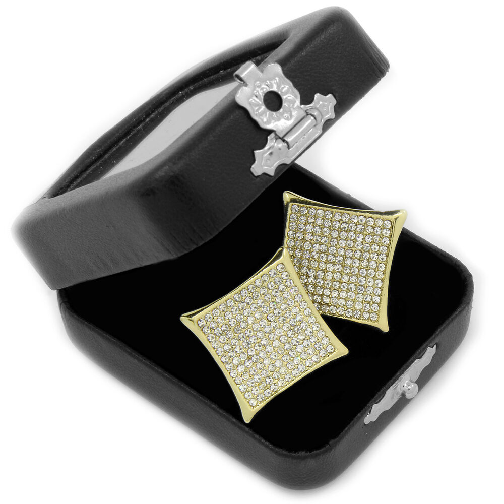 Hip Hop Earrings: Men's Hip Hop Iced Out Micro Pave 10 Row Kite Butterfly