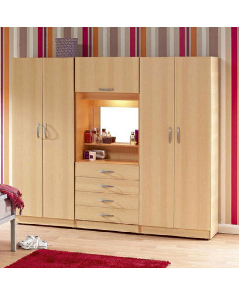 Brand new 4 door fitment wardrobe with mirror shelves for 1 door wardrobe with shelves