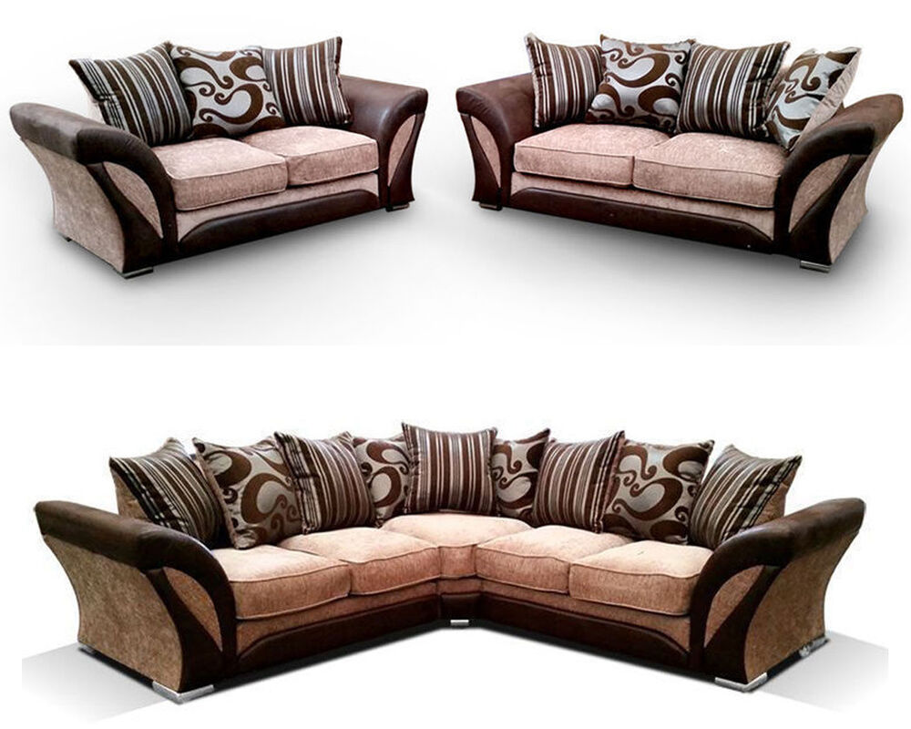 brand new shannon corner sofa set 3 2 seater ebay. Black Bedroom Furniture Sets. Home Design Ideas