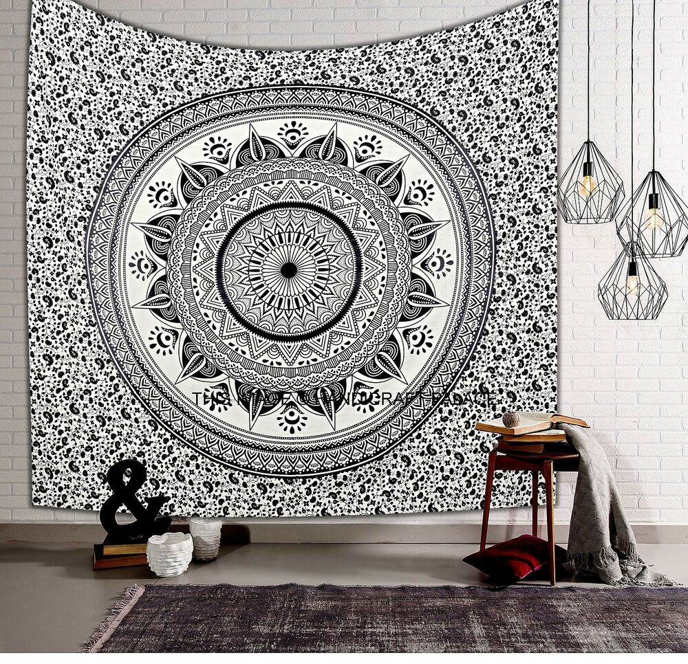 Black Amp White Ombre Mandala Wall Hanging Tapestry