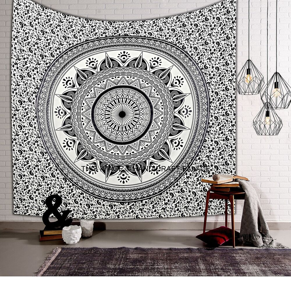 Wall Decor For Black Wall : Black white ombre mandala wall hanging tapestry