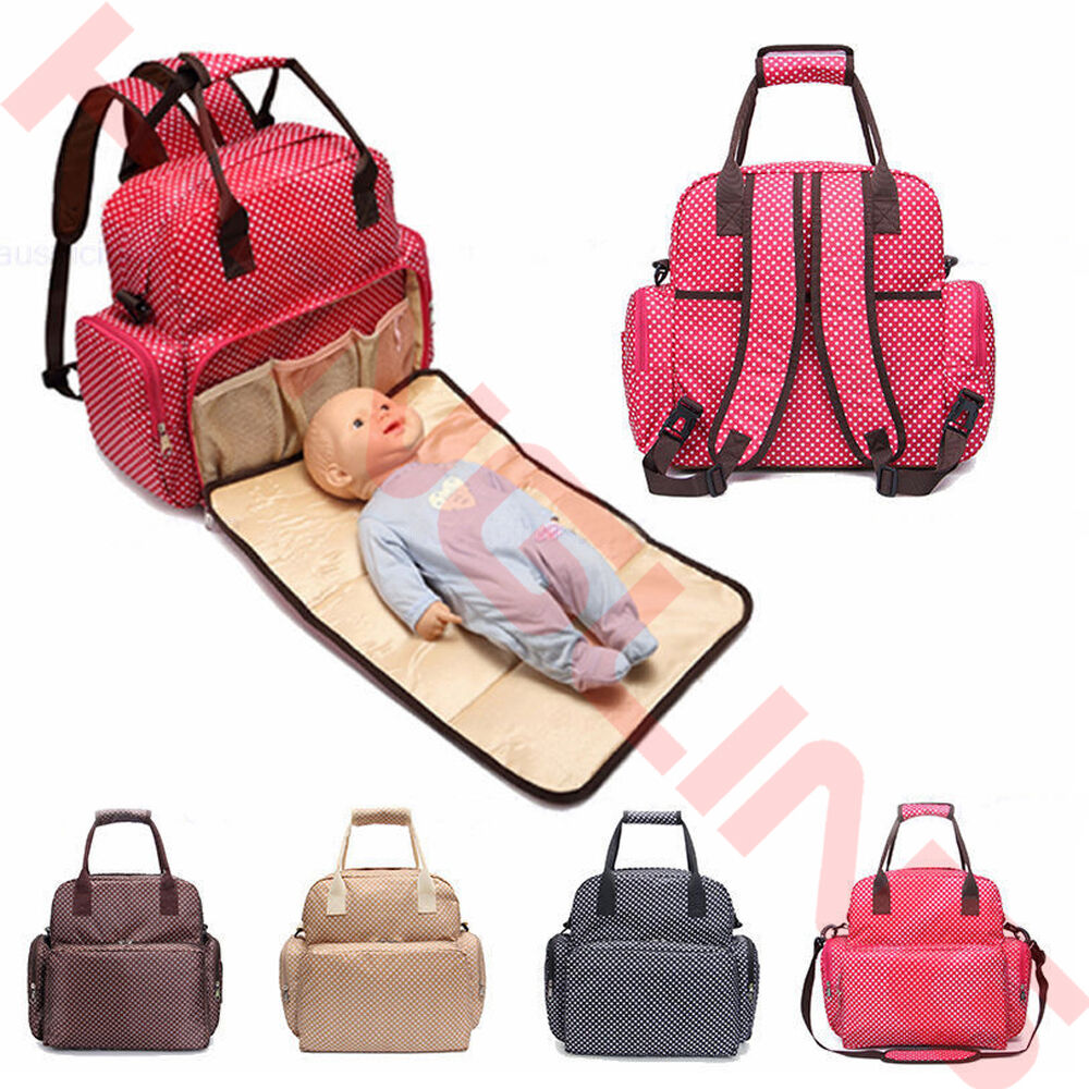 2016 large baby diaper nappy backpack changing mummy tote handbag shoulder bag ebay. Black Bedroom Furniture Sets. Home Design Ideas