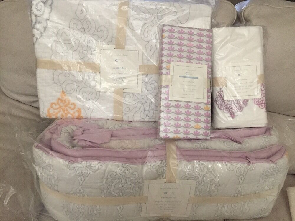 4pc Pottery Barn Kids Baby Cassandra Crib QUILT BUMPER
