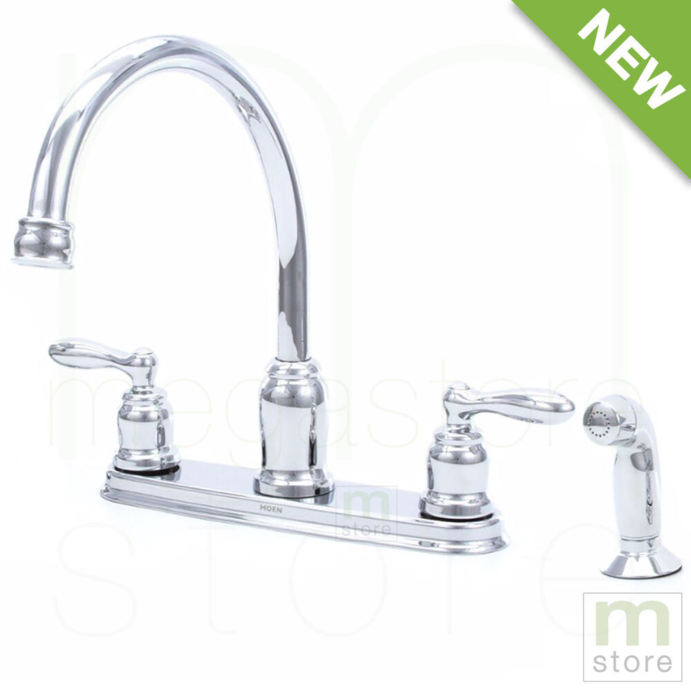 2 Handle High Arc Chrome Kitchen Faucet With Side Spray