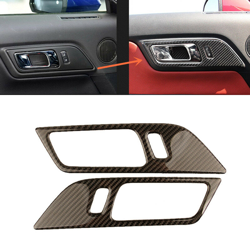 2pcs carbon fiber interior door handle frame trim for ford mustang 2015 2017 ebay for Carbon fiber mustang interior parts