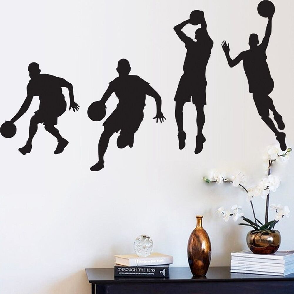 Men Play Basketball Cool Vinyl Wall Sticker Home Bedroom