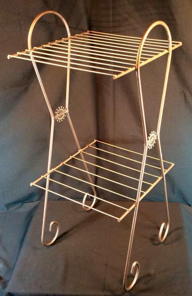 Vtg Metal 3 Tier Plant Stand Display Rack Brown Wire Mid