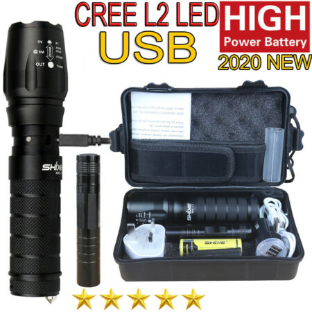 img-Bright Police LED Flashlight Tactical 20000LM XM-L2 Zoomable Torch Lamp UK-01A