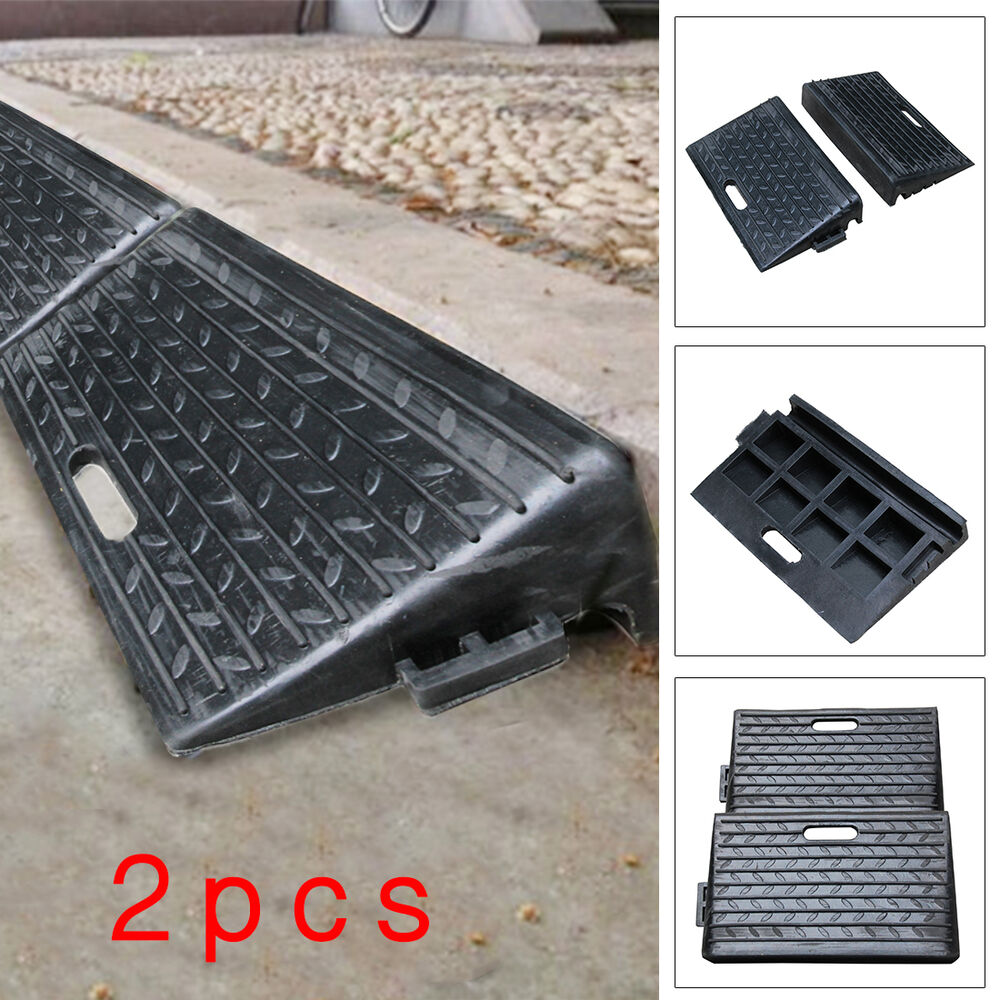 2x Black Rubber Kerb Ramps For Cars Caravans Wheelchair