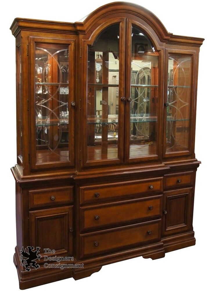Alexander Julian Home Colours Handcrafted Cherry China Cabinet Beveled  Glass | EBay