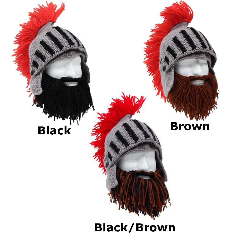 625a02fa291 Details about Roman Helmet Barbarian Knight Thermal Knit Beard Ski Mask  With Winter Hat ALL +