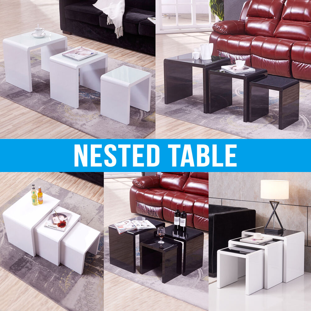 High Gloss Glass Nest Of Coffee Table Side Table Living Room Furniture Ebay