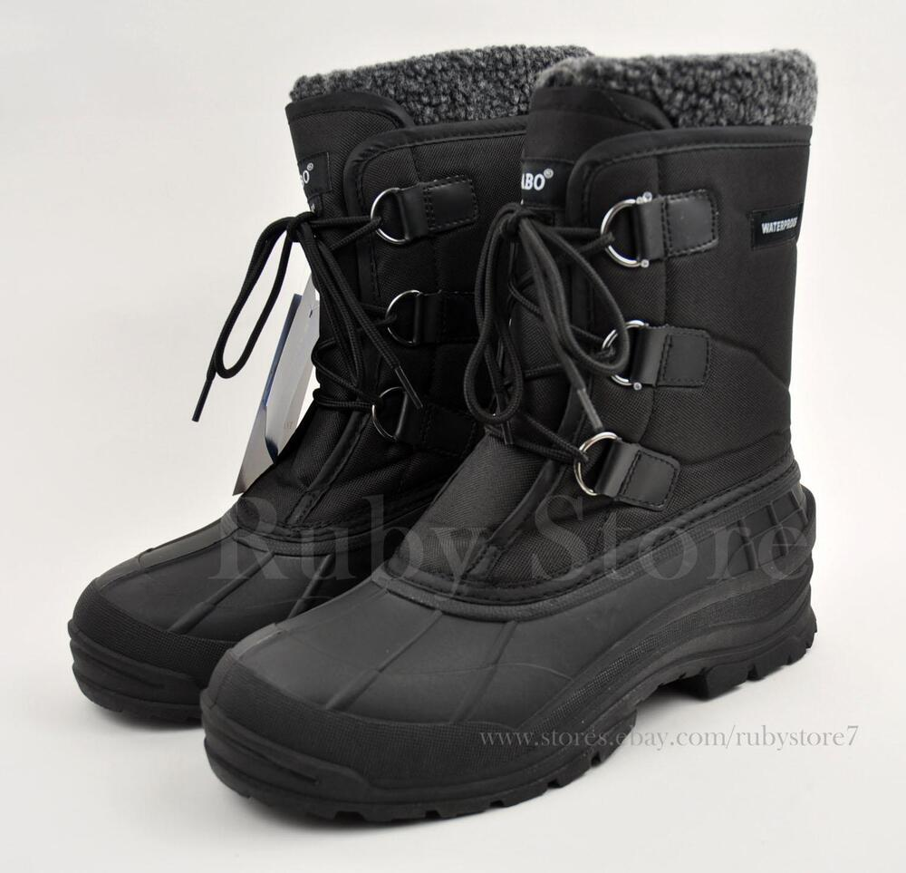 "Men's Black 9"" Winter Snow Hunting Work Boots Shoes"