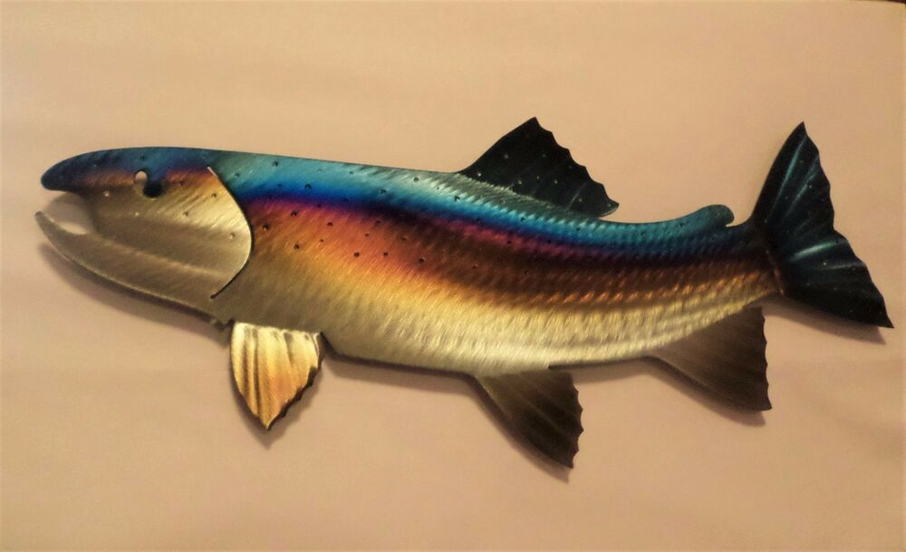 Metal rainbow trout fish fly fishing cabin lodge art wall for Fly fishing decor