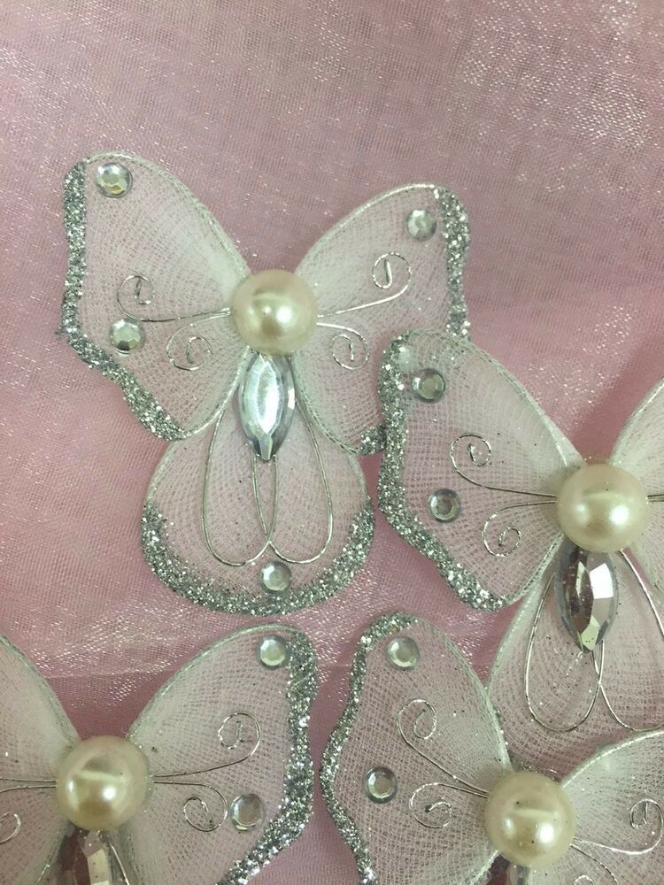 48 pcs 2 organza silver angel butterflies craft wedding for Butterflies for crafts and decoration
