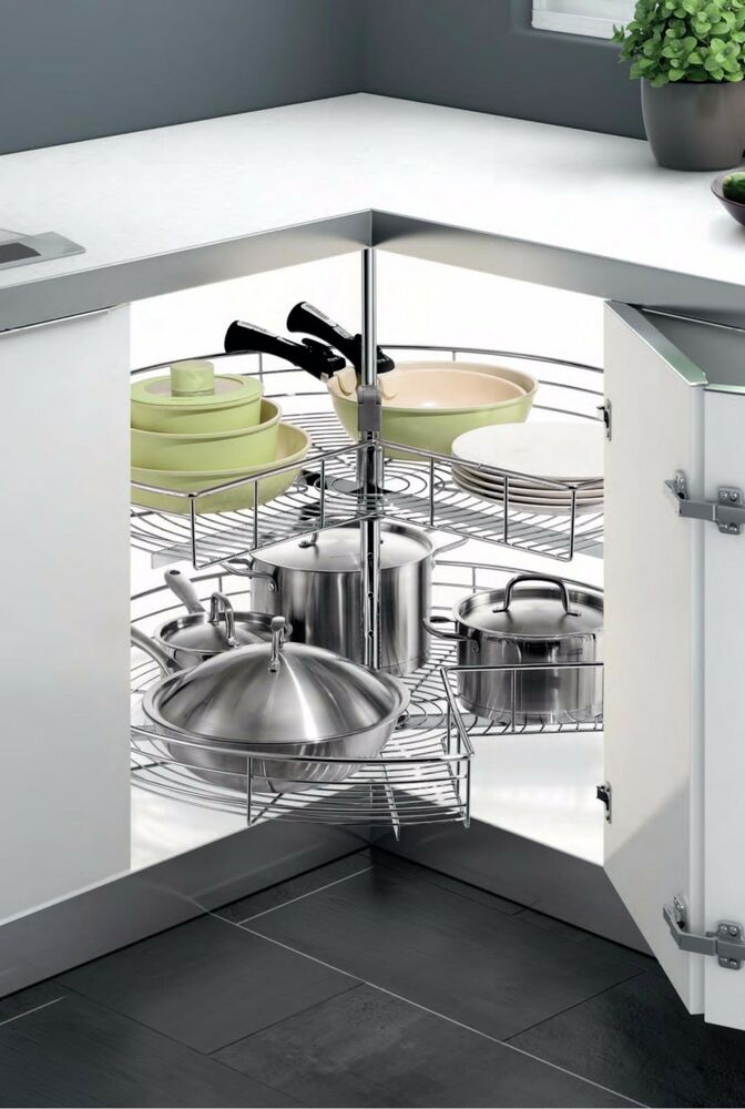 Pie Cut Chrome Lazy Susan Kitchen Cabinet Organizing