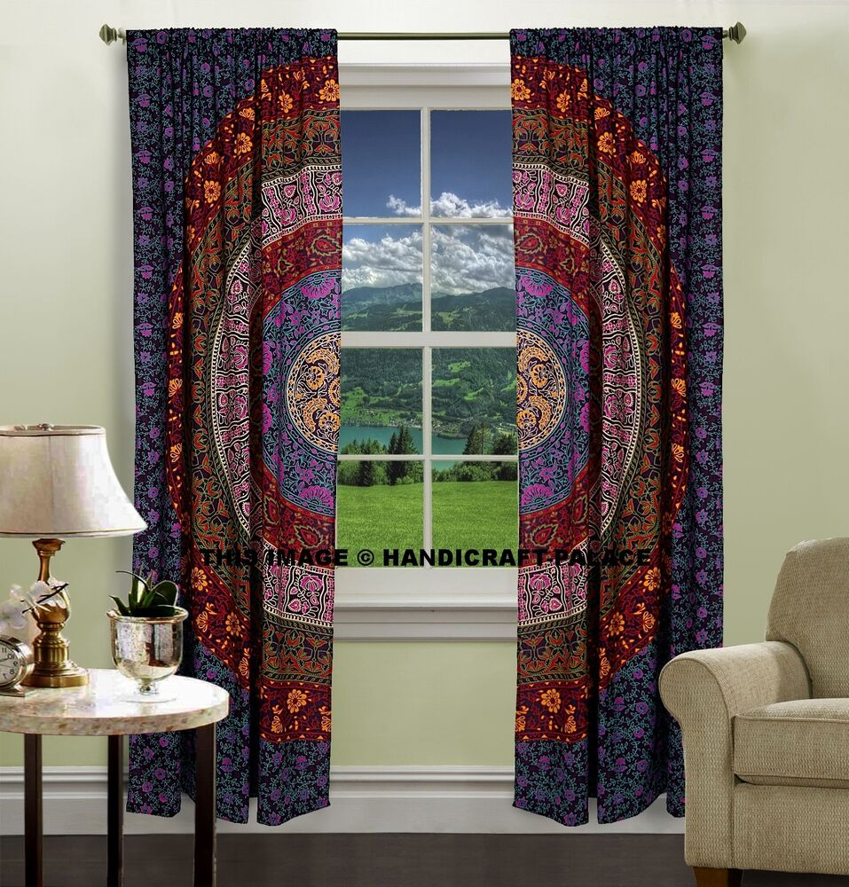 Kitchen Curtains And Valances: INDIAN MANDALA PRINT Kitchen Window Curtains Curtain
