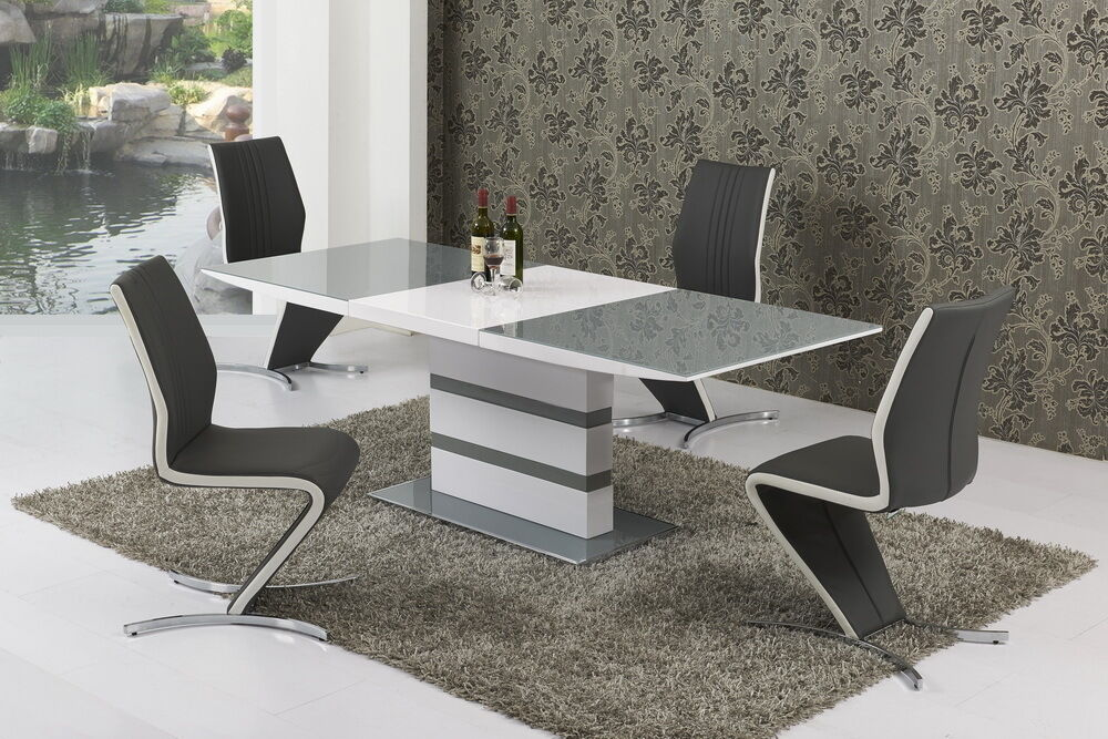 Small Grey And White High Gloss Extending 120-160cm Dining ...