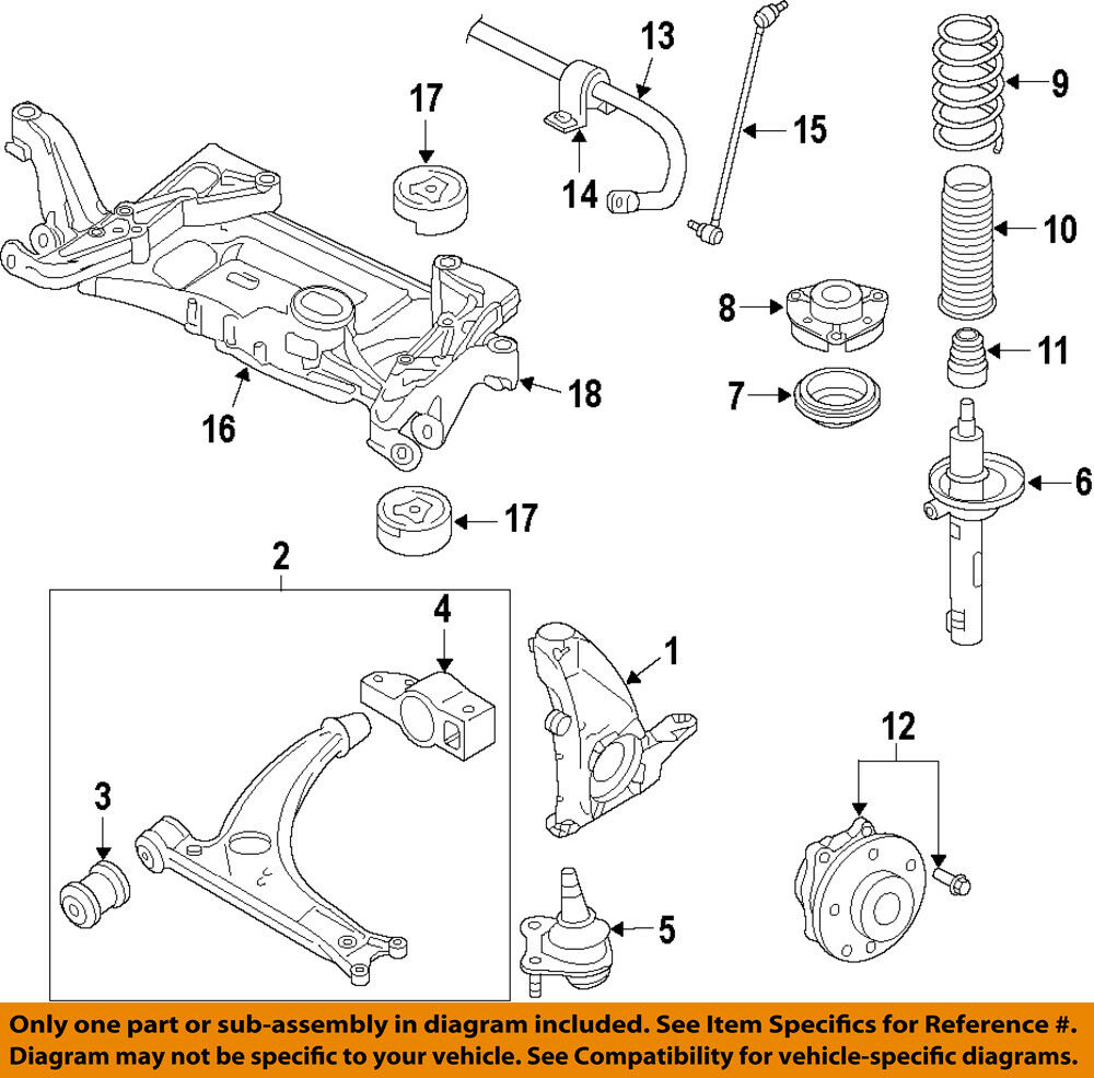 VW VOLKSWAGEN OEM Jetta Front Suspension-Steering Knuckle ...