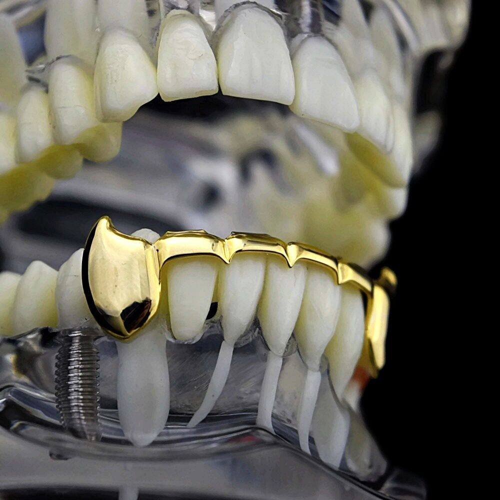 Vampire Fangs Half Grillz 14k Gold Plated Slim Bottom ...