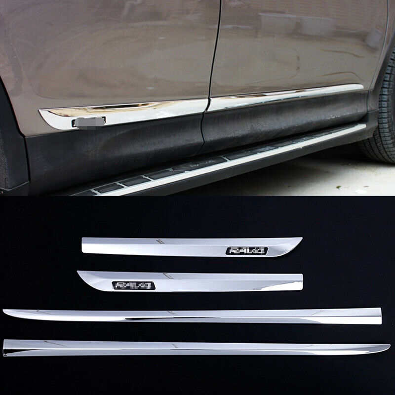 chrome car side door molding trim cover protecter for toyota rav4 2013 2016 ebay. Black Bedroom Furniture Sets. Home Design Ideas