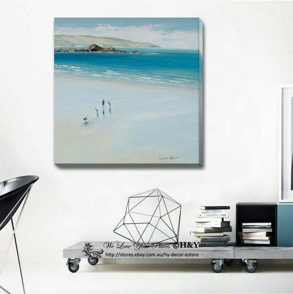 Playing on beach stretched canvas print framed wall art for Home decorations on ebay
