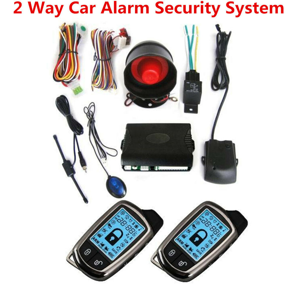 Vehicle Security Systems : Way car alarm security system siren anti theft lcd