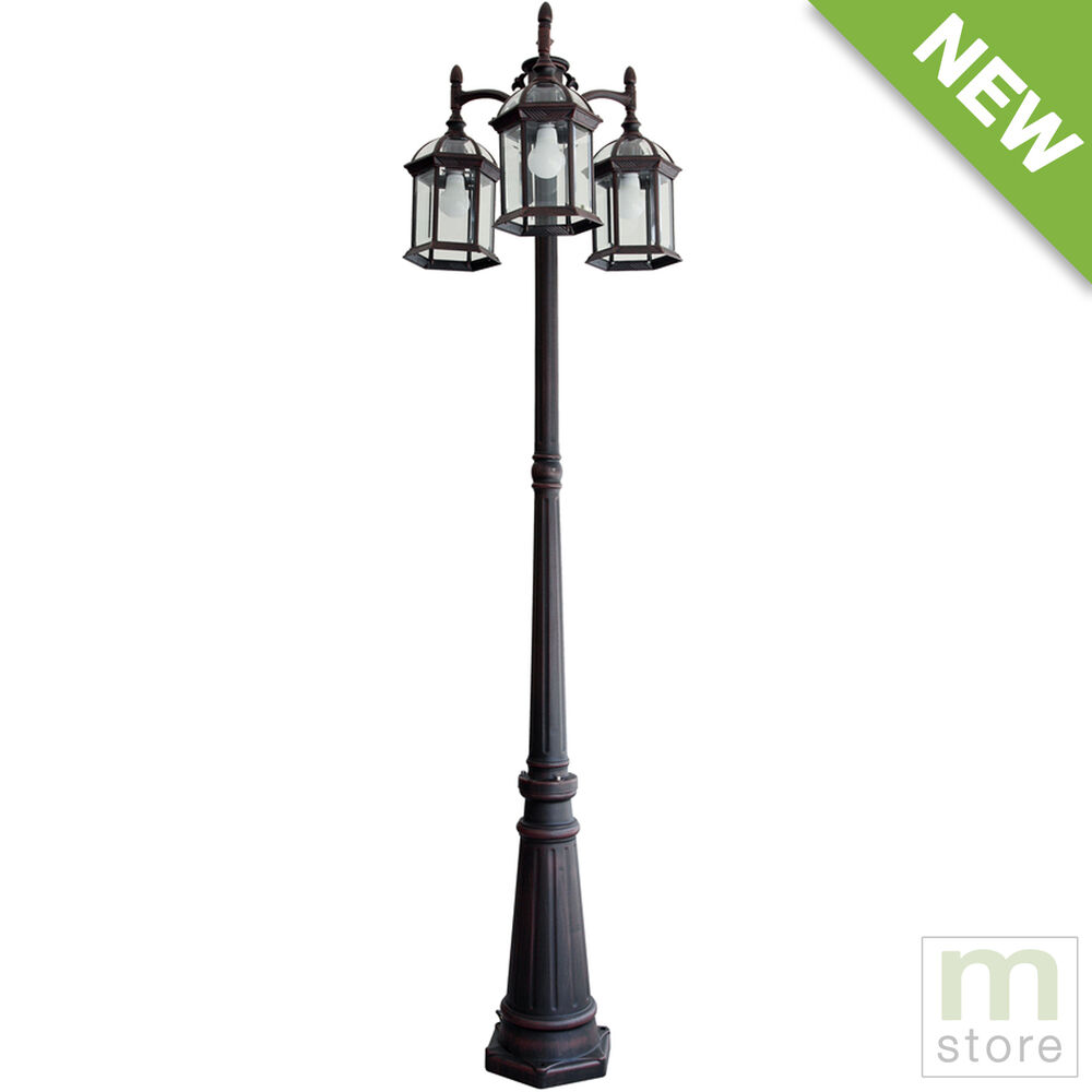 4 Foot Outdoor Solar Powered Lamp Post With: Outdoor Lamp Post Light Pole Fixture Garden Yard Driveway