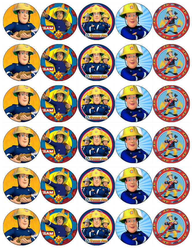 30x Fireman Sam Cupcake Toppers Edible Wafer Paper Fairy ...