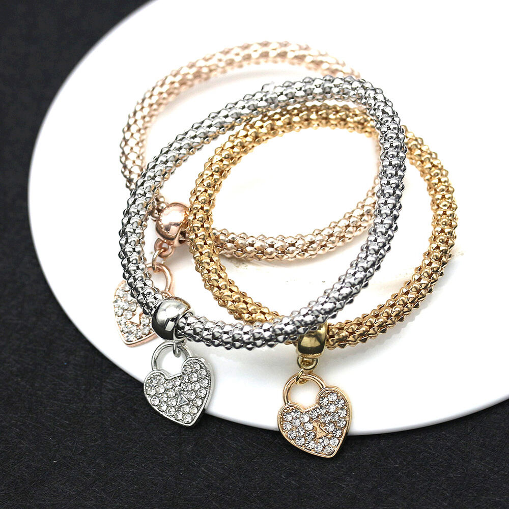 Gold Jewelry Bracelets: Women's Gold Silver Rose Gold Rhinestone Bracelet Bangle