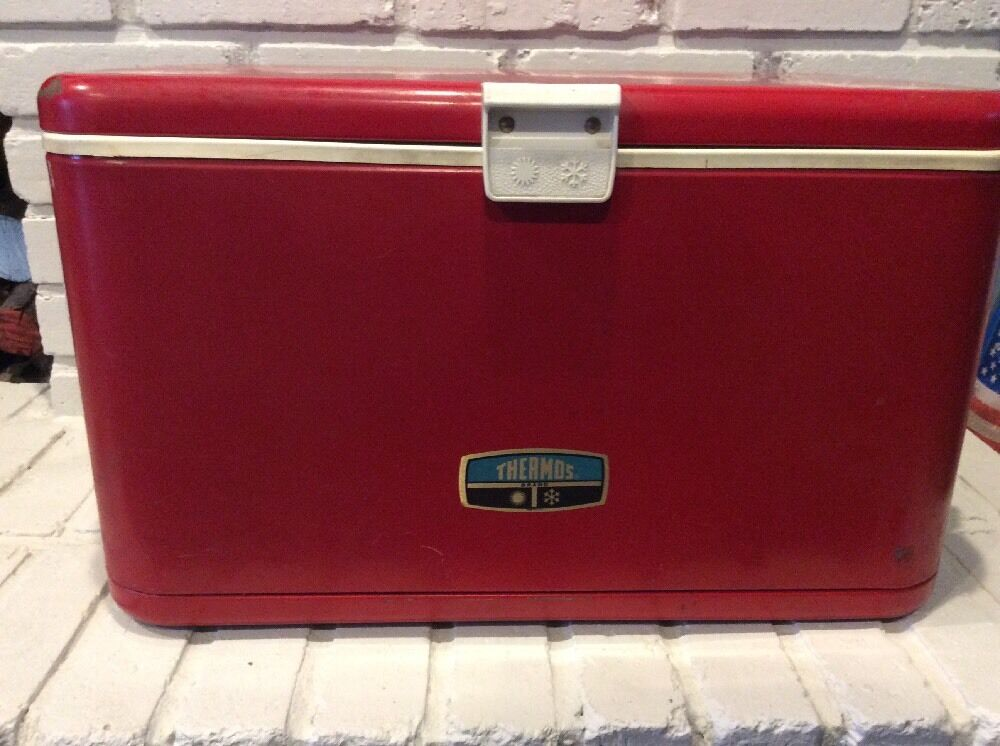 Vintage Thermos Ice Chest Cooler Metal Steel Red 22