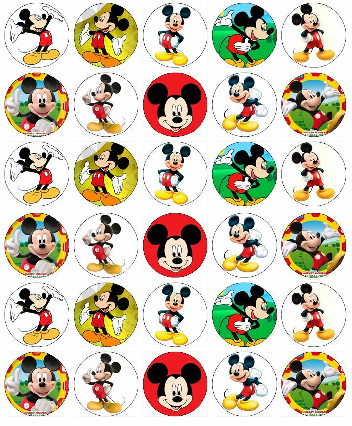 30 x Mickey Mouse Birthday Cupcake Toppers Edible Wafer ...Mickey Mouse Cupcake Toppers