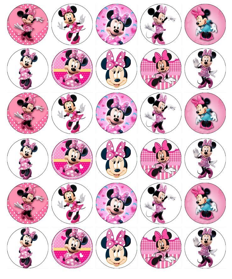 30 x Minnie Mouse Disney Cupcake Toppers Edible Wafer ...