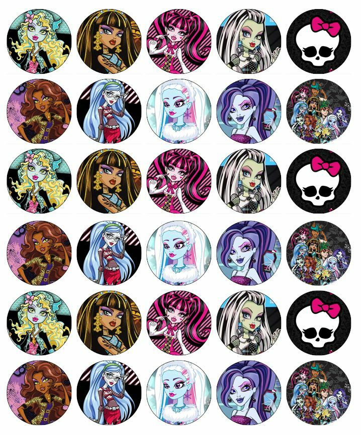 30 x Monster High Cupcake Toppers Edible Wafer Paper Fairy ...
