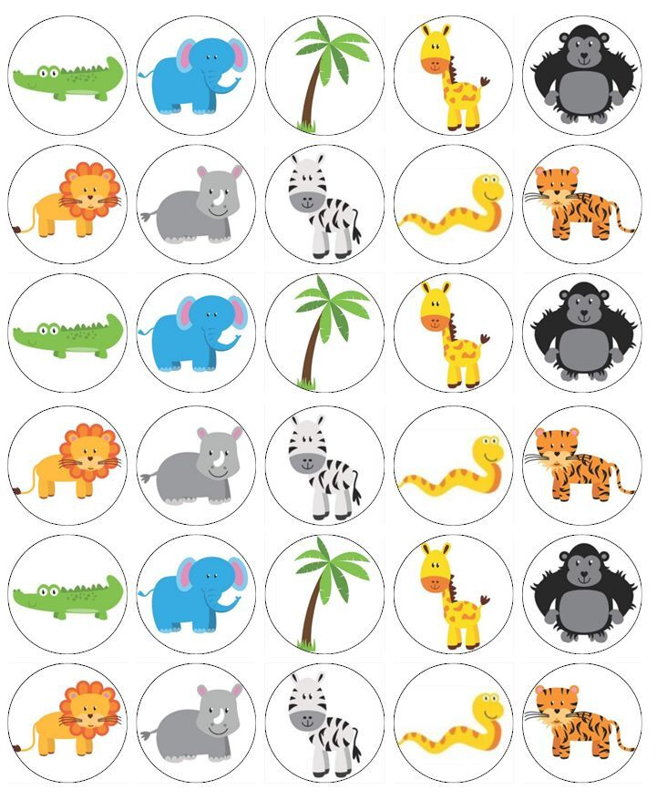 30 x Zoo Wild Animals Cupcake Toppers Edible Wafer Paper ...