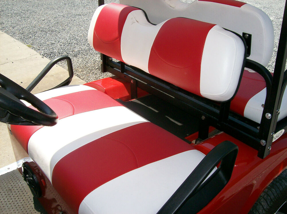 e z go club car yamaha golf cart vinyl seat covers stapled on wht w red cf ebay. Black Bedroom Furniture Sets. Home Design Ideas
