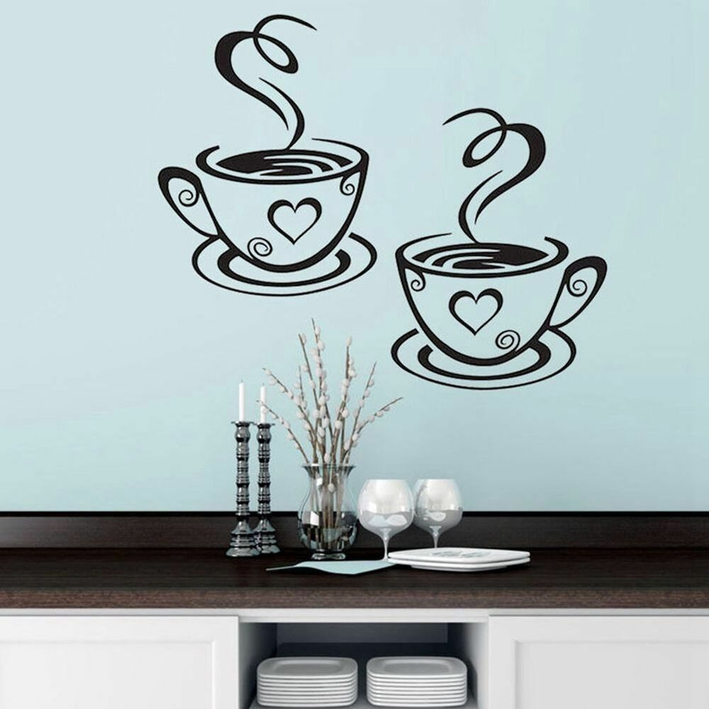 Kitchen 3d coffee cups cafe tea wall stickers art vinyl for Tea and coffee wall art