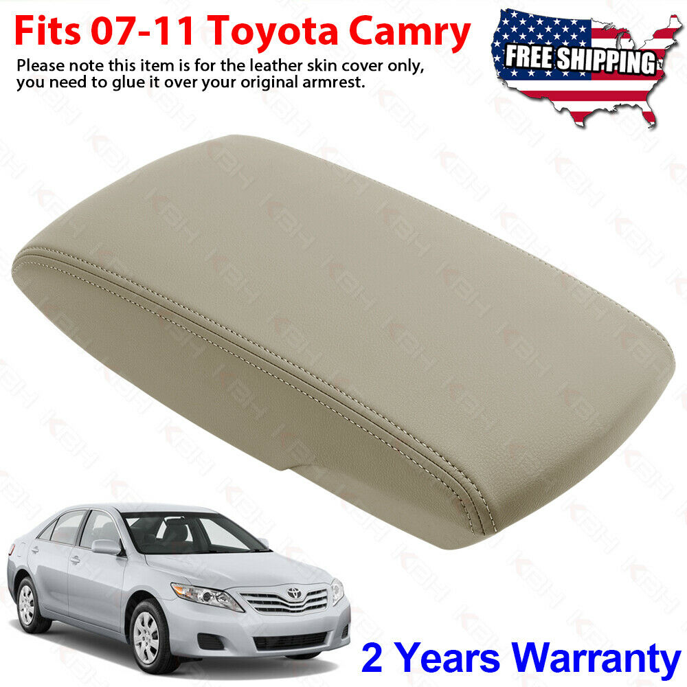 Details About Fits 2007 2017 Toyota Camry Leather Center Console Lid Armrest Cover Tan Beige