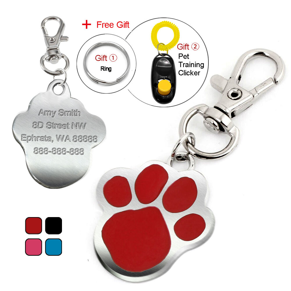 Cute Paw Print Custom Pet Dog Tags Cat Id Name Tag
