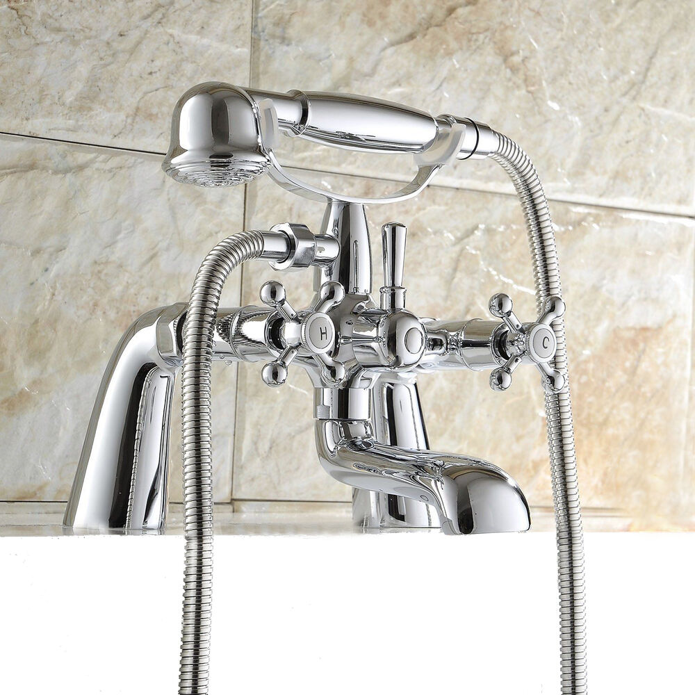 Traditional victorian chrome bath shower mixer tap classic for Bathroom taps
