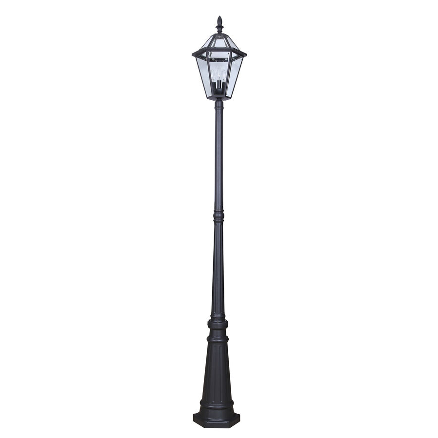 4 Foot Outdoor Solar Powered Lamp Post With: Outdoor Black Fixture Post Light Lamp Garden Yard Driveway