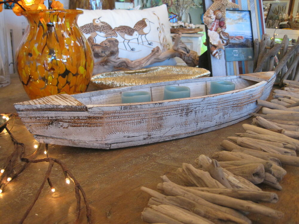 Boat Decor Home : Large driftwood boat candle holder home decor beach