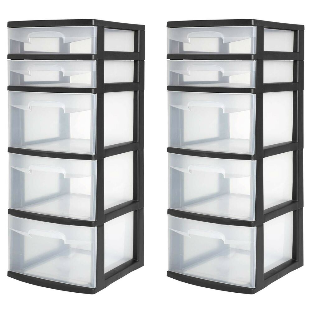 5 Drawer Tower Plastic Organizer Home Cabinet Office