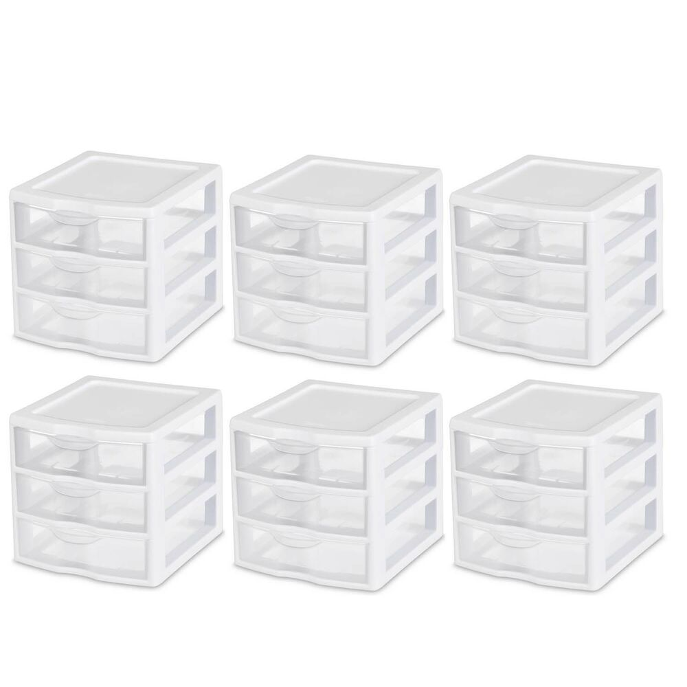 3 Drawer Small Desktop Organizer Home Office Bedroom Plastic Desk Storage 6 Pc Ebay