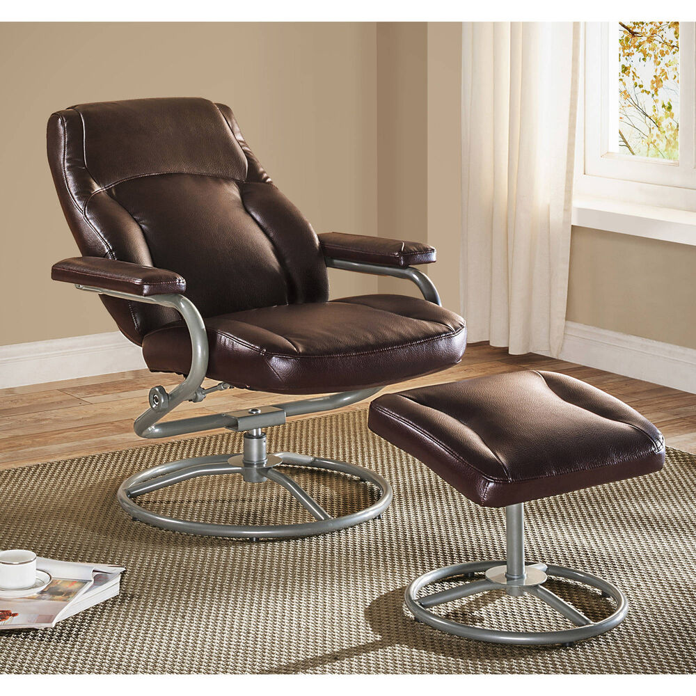 recliner and ottoman set brown glider chair swivel footrest rocker vinyl seat ebay. Black Bedroom Furniture Sets. Home Design Ideas