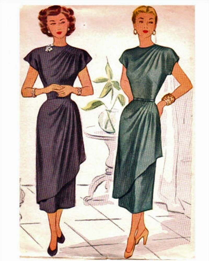Draped Gown Pattern: #120 1940'S DOUBLED DRAPED COCKTAIL DRESS PATTERN