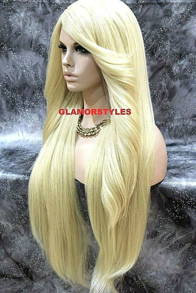 38 Quot Long Layered Bleach Blonde Full Lace Front Wig Heat Ok